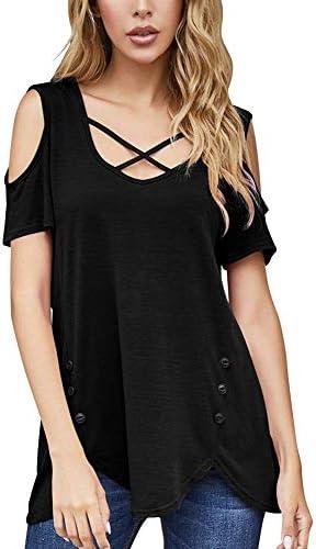 Women's Criss Cross Cold Shoulder V Neck Short Sleeve Summer T Shirts Tunic Tops Blouse