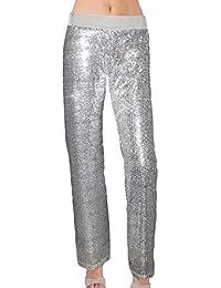 Plus or Reg Sequin Pant w Velvet Straight Leg Pencil Leg...
