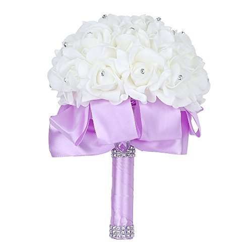 Febou Wedding Bouquet Crystal Roses Bridesmaid Bouquet,