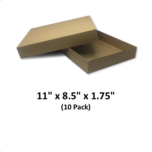 Brown Cardboard Kraft Apparel Decorative Gift Boxes with Lids for Clothing and Gifts, 11x8.5x1.75 (10 Pack) | MagicWater (Brown Gift Box)