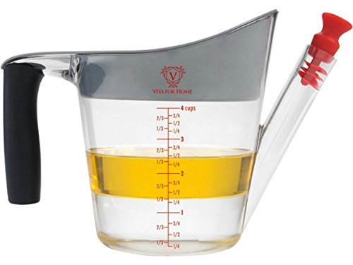 Gravy Separator & Fat Separator Cup. IN STOCK NOW!! With Strainer and 2 Stoppers. Large 4 Cup Capacity. Better Than Glass for Grease and Oil - Slip Resistant Handle.