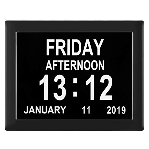 [Newest Version] Dementia Clock Digital Calendar Clock - 8 Alarm Options,Extra Large Non-Abbreviated Day & Month for Vision Impaired, Alzheimer,Elderly, Memory Loss (Black)