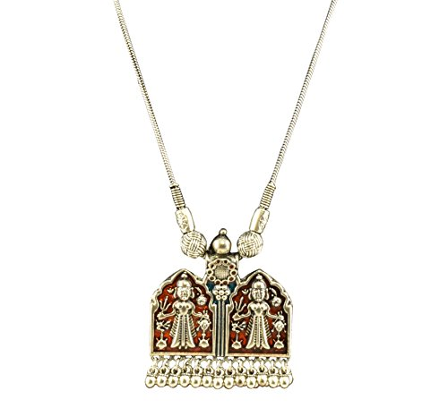 Hand Painted Oxidized Orange Tribal Pendant Necklace with Long Silver Chain and Ghunghroo Drops for Women and -