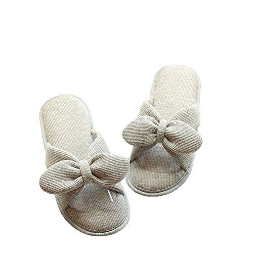 Hausschuhe Memory waschbar gemütliche Haus Baumwolle Thread YYF Frauen Foam grau w6x8UqHq