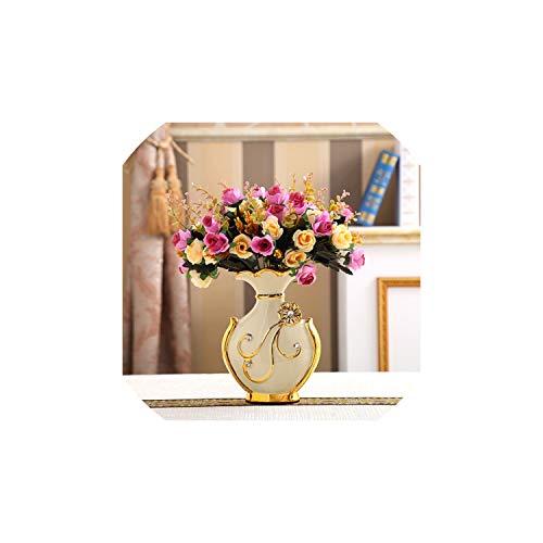 Flower Gilded Holder Decor Ceramic Flower Vase Decorative Plated Vases Exquisite Wedding Decoration Golden Vase,Big D N Flowers B