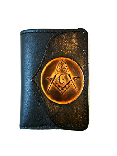 Hilltop Leather Company Mens Handcrafted Leather Trifold Wallet Masonic - Hilltop Shop