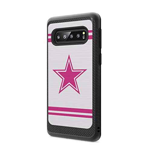 Moriko Case Compatible with Galaxy S10 Plus [Drop Protection Dust Shock Impact Proof Carbon Fiber Protective Black Case Cover] for Samsung Galaxy S10 Plus S 10+ 2019 - (Pink Cowboy)
