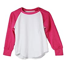 Hot Pink Long Sleeve Raglan Baseball T-Shirt