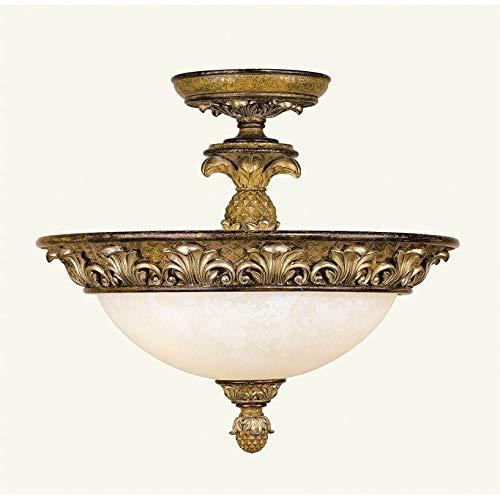 (Livex Lighting 8467-57 Savannah 3 Light Venetian Patina Semi Flush Ceiling Mount with Vintage carved Scavo Glass)