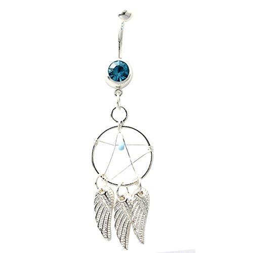 Acier chirurgical 316L 14 g 3 plumes pour nombril attrape-rêves Argenté avec pierres bleu