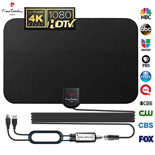 【2019 Strongest Latest】 TV Antenna Indoor Digital HDTV Amplified Antennae Aerial Freeview 4K 1080P HD VHF UHF for Local Channels 60-120 Miles with Amplifier Support All Television-18ft Coax Cable