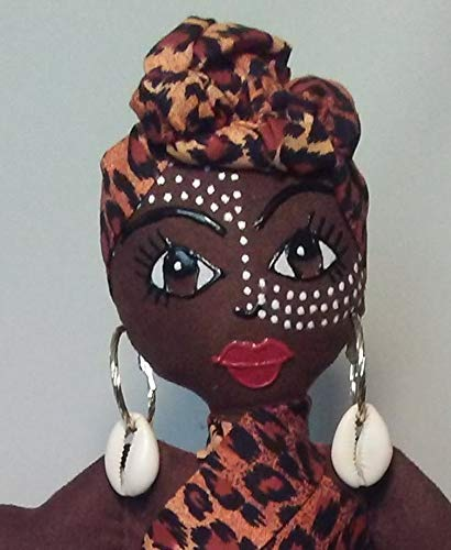 African American Doll Head Wrap Handcrafted Ethnic Doll Black Doll Maker 11 inch Doll African Inspired Multicultural Doll Collectible Doll Hand Painted Natural Hair Styles Black Doll