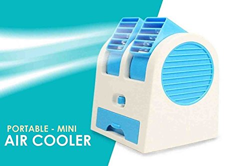 K F Mini USB Fragrance Air Conditioner Cooling Fan Cooling Portable Desktop Dual Bladeless Air Cooler