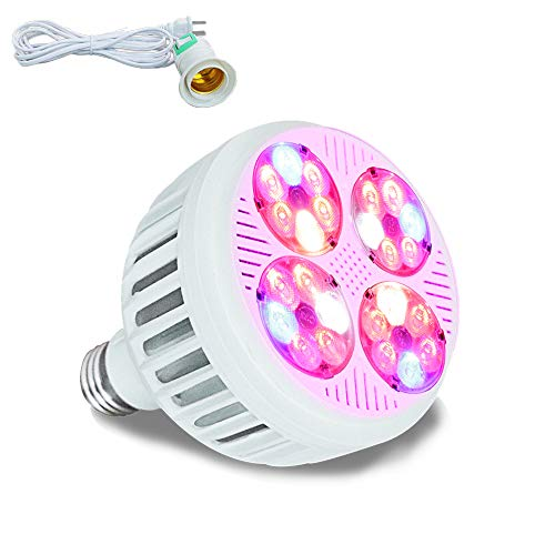LED Grow Light Full Spectrum UV IR Band MaxBloom B24 24W Growing Bulb lamp for Indoor Plants Grow Lamp for Indoor Plants Greenhouse Professional High Yield Version for Herbs Fruits Vegetable (24W)