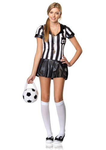 (Leg Avenue Junior's 3 Piece Junior Referee Costume, Black/White,)