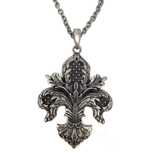 Long Burnished Silver Tone Antiqued Swirl Fleur De Lis Feather Look Necklace