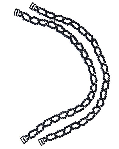 - Oval Beaded Removable Replacement Bra Straps in Black, Small 15