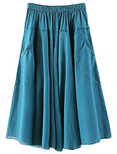 YuanDian Mujer Verano Ocio Literatura Y Arte Estilo Cintura Elástica Faldas Plisada Vuelo Bolsillo Oscilación A-Line Midi Falda Lago Verde