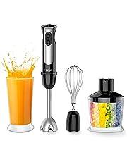 PREUP Stabmixer 4 IN 1 Multifunktionsmixer mit einstellbarer Geschwindigkeit Elektro Gemüse und Fleischschneider für Smoothie, Suppen und Babynahrung, 800W mit 600ML Messglas, 500ml Chopper