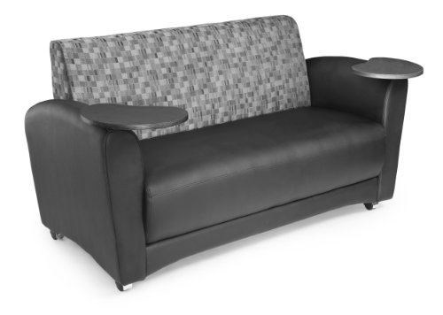 OFM InterPlay Series Social Seating Sofa with Double Tungsten Tablets, in Nickel/Black (822-N-606-TNGST)