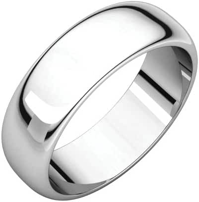 Platinum 6mm Half Round Band, Ring Size 8.5