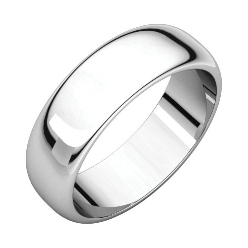 Jewels By Lux 18k White Gold 6mm Half Round Wedding Ring Band