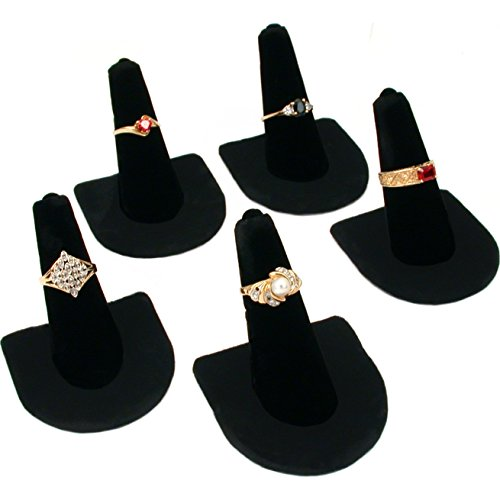 (5 Black Velvet Ring Finger Jewelry Holder Showcase Display)