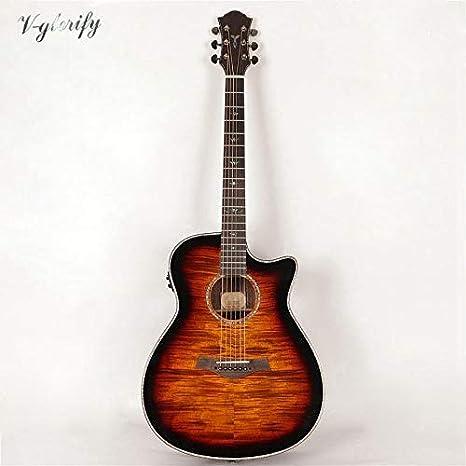 Guitarra acústica de arce con afinador eléctrico, hecha a mano ...