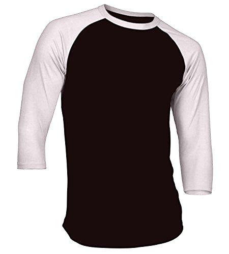 3/4 Sleeve Raglan Baseball - Men's Plain Athletic 3/4 Sleeve Baseball Raglan Shirt Black White Large