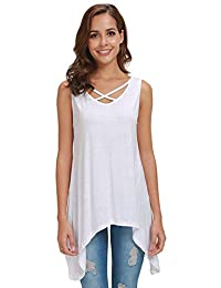 Pamee Tank Tops for Women Roundneck V-Neck Casual Flowy Sleeveless Blouse Shirt Tee