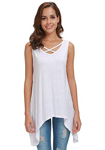 AIDIER Tank Tops for Women Loose Sleeveless Tunic Criss Cross Flowy Long Blouse Shirt White XL