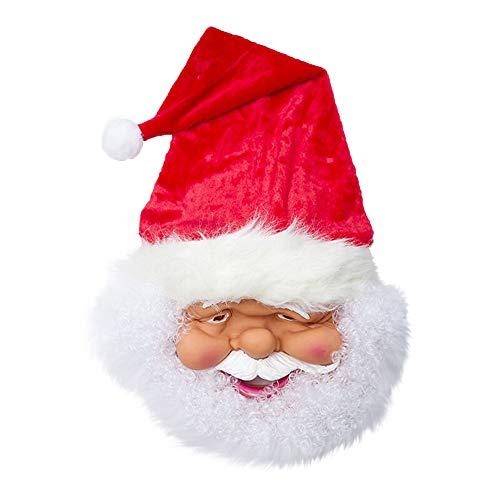 Blackcat Santa Mask-Santa Dress Up, Santa Mask Cosplay Full Face Adult Party Red Father Christmas (As Shown)