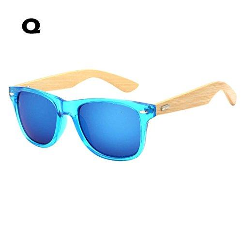 Tiean New Bamboo Sunglasses, Wooden Wood Mens Womens Retro Vintage Summer Glasses - Ray Q Sunglasses