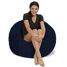 Chill Bag - Bean Bags Memory Foam Bean Bag Chair, 3', Navy Micro Suede