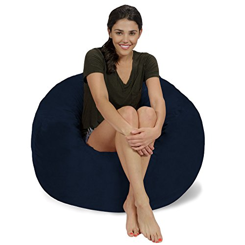 Chill Sack Bean Bag Chair: Large 3' Memory Foam Furniture Bean Bag - Big Sofa with Soft Micro Fiber Cover - Navy Micro (Navy Bean Bag Chair)
