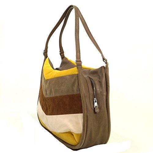 Esprit Fleur Fancy Shopper Braun Gelb 066EA1O11-E226 Damen Handtasche  Tasche Shopper Schultertasche ...
