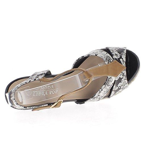 Sandales compensées noires talons de 11cm impression fleurs