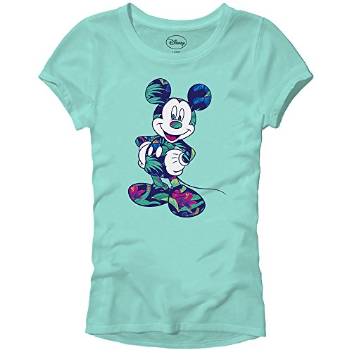 Disney Mickey Mouse Tropical Mint Green Disneyland World Tee Funny Humor Women's Juniors Slim Fit Graphic T-Shirt Apparel (Mint Green, Large)