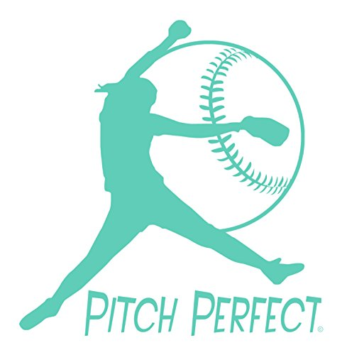 Pitch Perfect-Fastpitch Softball-Indoor Vinyl Wall Decal-Girls Softball-Unique Softball Gift-Young Girls Bedroom-Teenagers Playroom-Youth or College Women Softball Enthusiast-Softball Mom-MINT ()