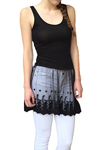 Womens Casual Basic Tank Top Lace Bottom Dress Large Black (Doll Peek A-boo Lace Baby)