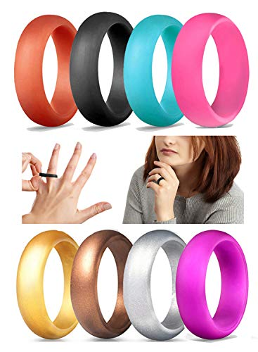 CAMPSNAIL Silicone Rings Wedding Bands for Men & Women - Skin Safe, Comfortable, Non-Toxic, Fashion, Colorful