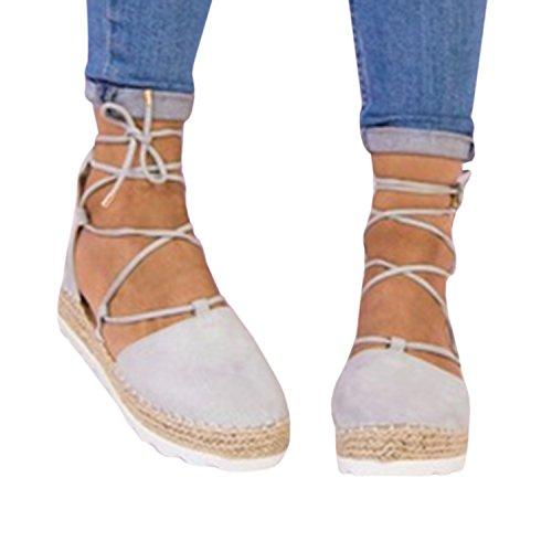 Syktkmx Womens Flatform Lace Up Espadrille Platform Flat Closed Toe Ankle Wrap Sandals