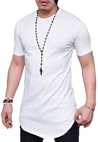 JOKHOO Mens Long Sleeve Hipster Hip Hop Basic Henley T Shirt for Men (L, White1) by JOKHOO
