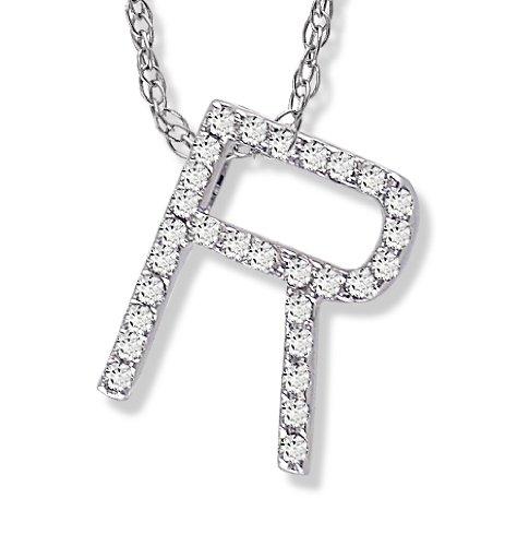 Diamond Initial Pendant R in 1