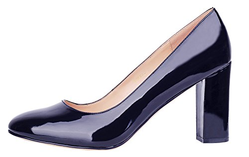 Toe Pumps Thick Party Women's Pointed Dress High for and B Simple Office Silhouette Heel Navy Verocara wqgXHz4X