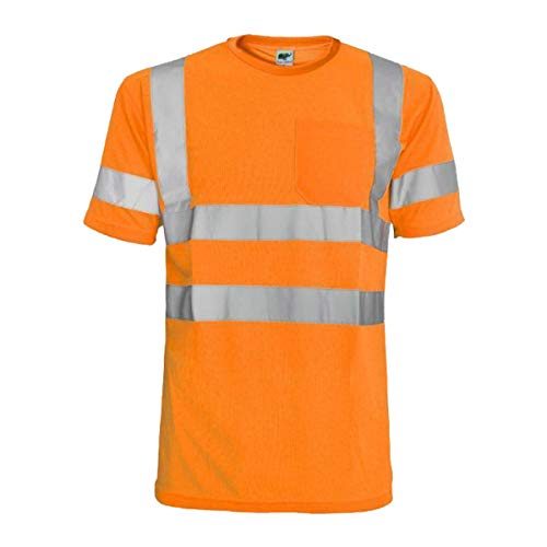 Hi Vis T Shirt ANSI Class 3 Reflective Safety Lime Orange Short Sleeve HIGH Visibility (L, Orange) (Best Class T Shirts)