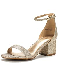 3ab263611618 Women s Low-Chunk Low Heel Pump Sandals with Ankle Strap