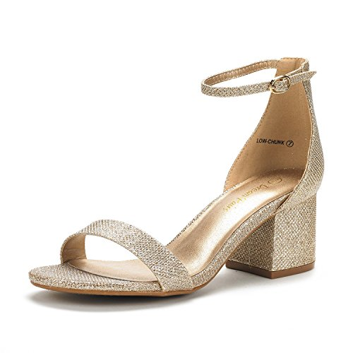 DREAM PAIRS Women's Low-Chunk Gold Glitter Low Heel Pump Sandals - 11 M US (Gold Sandals Size 11)