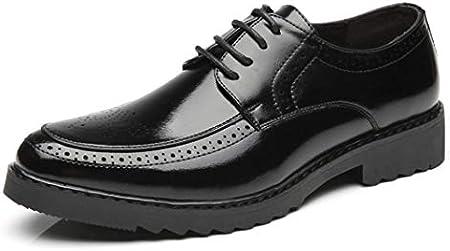 Oxfords de Cuero Ligero Bullock Tallado de Moda de los Hombres Zapatos de Vestir de Fiesta de Boda Negro Rojo