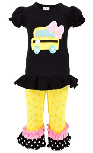 Unique Baby Girls Back to School Bus Shirt Boutique Outfit (5T/L, Black)
